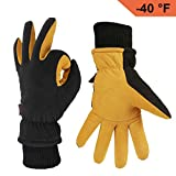 insulated athletic gloves - OZERO Winter Gloves with Windproof Deerskin Suede Leather and Insulated Polar Fleece Warm for Women and Men Tan-Black XL