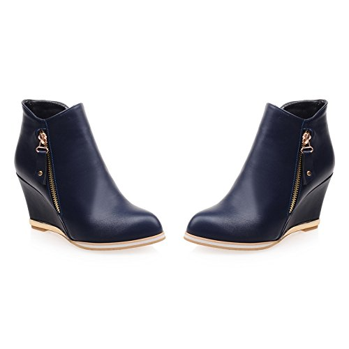 Boots Shoes Zip toe High Wedges Winter Heel AIWEIYi Womens Back Ankle Snow Round Blue 7xIZw71q4