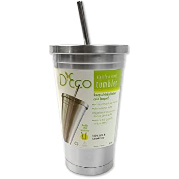 Stainless Steel Tumbler with Straw- Hot and Cold Double Wall Drinking Mug- 16 oz.