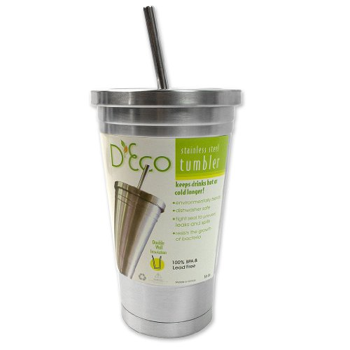 Stainless Steel Tumbler with Straw- Hot and Cold Double Wall Drinking Mug- 16 oz.]()