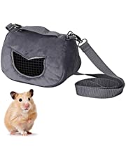 Portable Hamster Carrier Bag Comfortable Warm Carrier Handbag Small Zipper Pouch for Small Animals Hedgehogs, Sugar Gliders Guinea Pigs Squirrels Grey(M)
