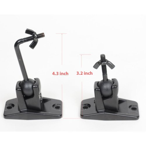 VideoSecu One Pair Black Univaersal Satellite Speaker Mount Bracket for Wall and Ceiling, fits Keyhole and thread hole with 1/4 20 threads, 4mm and 5mm 1ST