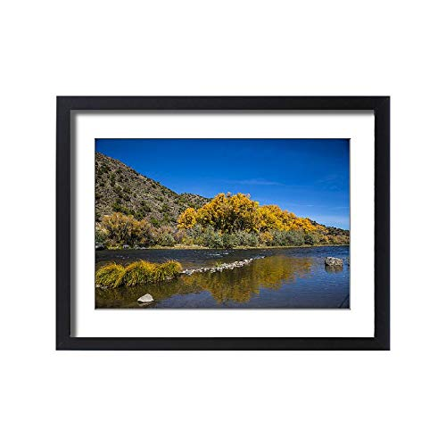 Media Storehouse Framed 24x18 Print of Yellow Autumn Cottonwood Tree and Reflection in Rio Grand Gorge ()