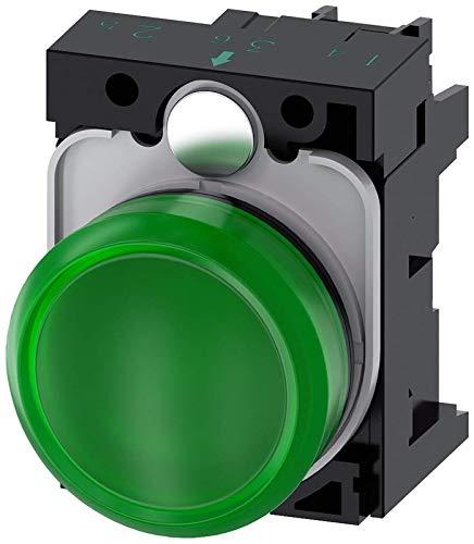 Siemens 3SU11026AA401AA0 Indicator Light, Plastic, IP66, IP67, IP69K Protection Rating, Black Plastic, 22mm, Green
