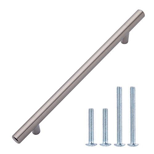 AmazonBasics Euro Bar Cabinet Handle (1/2 Diameter), 8.69 Length (6.31 Hole Center), Satin Nickel, 10-Pack