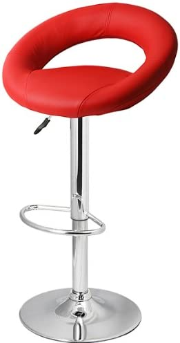 Faux Leather Crescent Bar Stool Red - Set of 4 | Crescent Kitchen Stool, Crescent Breakfast Bar Stool, Faux Leather Bar Stool, Gas Lift Bar Stool