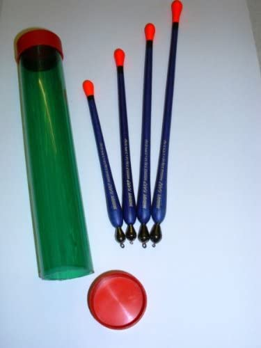 Set of four Loaded Carp Missile coarse fishing floats in a tube