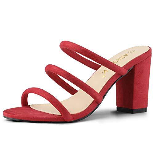 Allegra K Women's Open Toe Block Heel Slides Red Mules Sandals - 9 M US