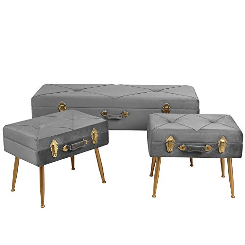 HOMECHO Modern Storage Ottoman Bed Bench Tufted Foot Rest Stool Pouf Organizer Container Velvet Padded Seat Portable Suitcase with Detachable Metal Leg, 3 pcs Set, Gray (Pouf Ottoman Velvet)