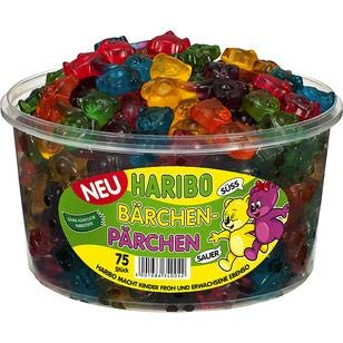 Haribo Bears Couples, Fruit jelly, Wine Gums, Jelly Bears, 75 pieces, 1200g, Box by Haribo