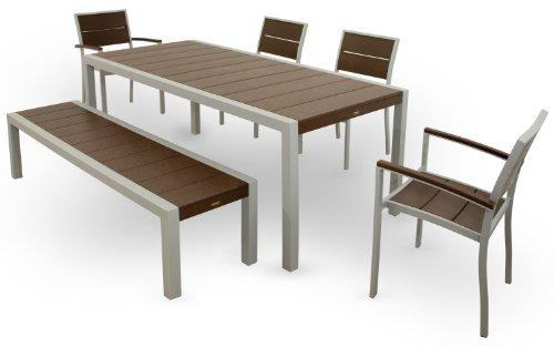 Cheap Trex Outdoor Furniture TXS124-1-11VL Surf City 6-Piece Dining Set, Textured Silver/Vintage Lantern