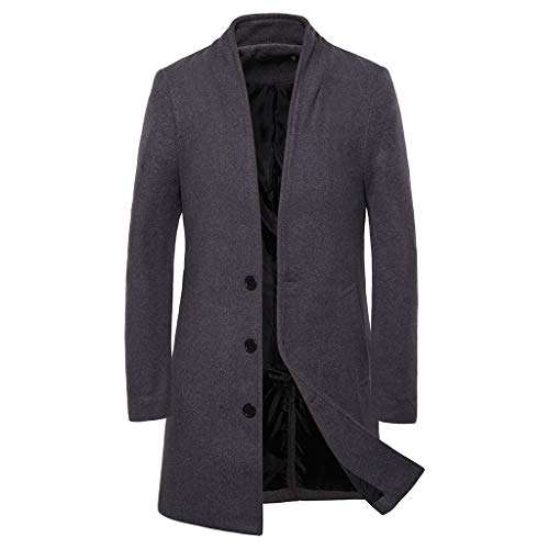 GREFER-Mens Trench Coat Winter Sale Single Breasted Overcoat Classic Business Slim Wool Blend Pea Coat Jacket Gray