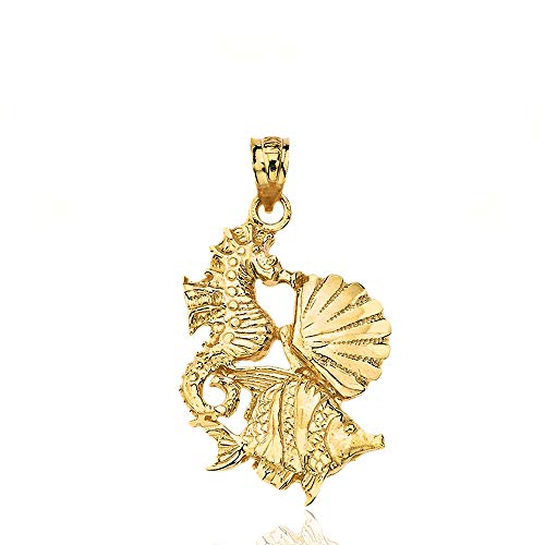 Textured 14k Yellow Gold Seahorse Cockle Sea Shell and Fish ()