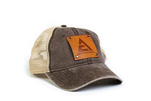 Allis Chalmers Hat with Leather Logo Emblem, Brown/Tan Mesh
