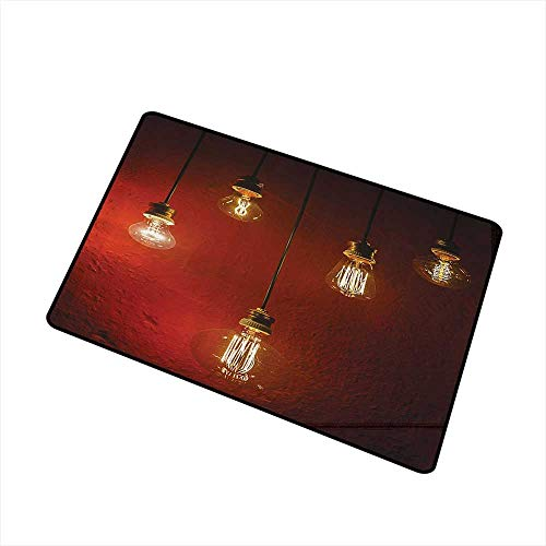 - Axbkl Interior Door mat Industrial Decor Collection Old Incandescent Lamps Lighting Together on a Wall Electrical Bulb Energy Lamp Picture W20 xL31 Indoor Outdoor, Waterproof, Easy Clean Maroon