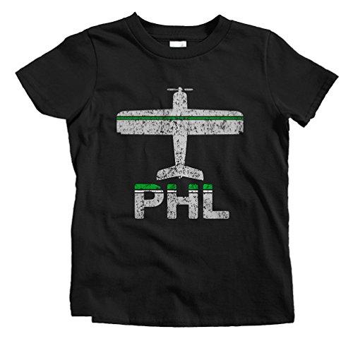 Smash Vintage Kids Fly Philadelphia PHL Airport T-Shirt - Black, Youth - Airport Philadelphia Pennsylvania