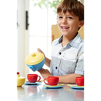 Green Toys Tea Set, Blue/Red/Yellow: Toys & Games