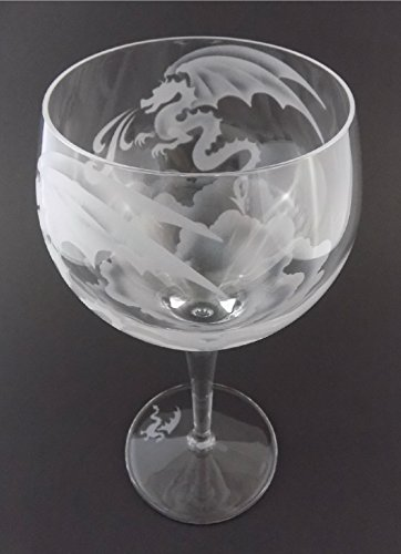 IncisoArt Hand Etched Italian Crystal Goblet Sandblasted (Sand Carved) Handmade Wine Water Glass Engraved (Mystical Fire Spitting Dragon, 500 Milliliter (17 Ounce) Red Wine)