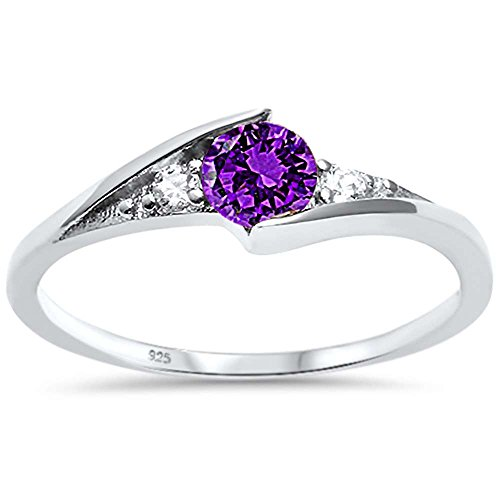 Sterling Silver New Round Simulated Amethyst Solitaire Fashion Ring Sizes 6