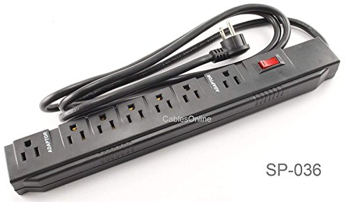 CablesOnline, Power Strip with 5 Horizontal + 2 Adapter Outlets w/6-foot Cable , SP-036