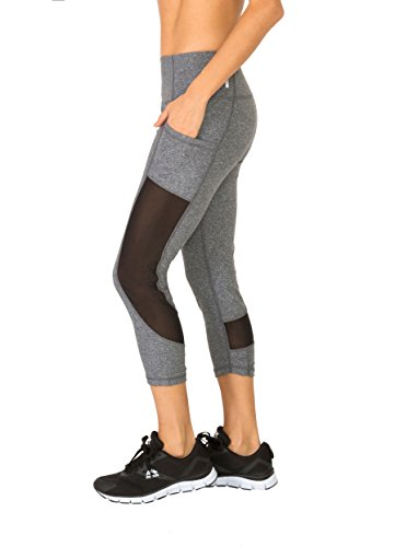 RBX Active Women's Power Capri with Mesh and Pockets Charcoal Grey L