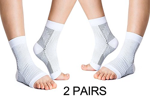 VakerZon 2 Pair Compression Ankle Brace Foot Sleeve-Relieves Achilles Tendonitis,Foot Sock with Arch Support Reduces Swelling & Heel Spur Pain Injury Recovery for Sports (L/XL, White)