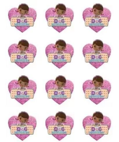Doc Mcstuffins Heart Design Round Edible Cupcake Toppers - Set of 12]()