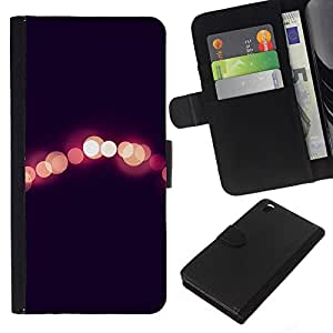 KLONGSHOP // Tirón de la caja Cartera de cuero con ranuras para tarjetas - luces de la ciudad de noche melocotón negro borrosa - HTC DESIRE 816 //