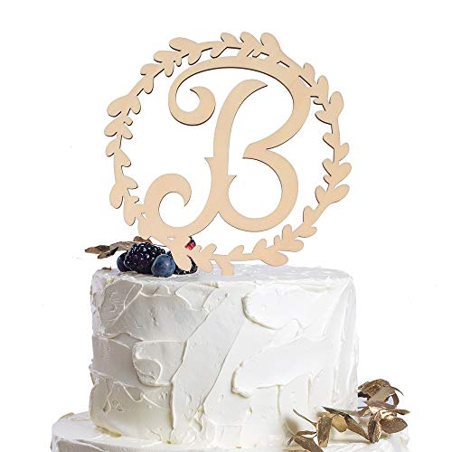Letter B Personalized Initial Wood Cake Topper Monogram Wedding Anniversary Birthday Vow Reveal Party Decoration Supplies.