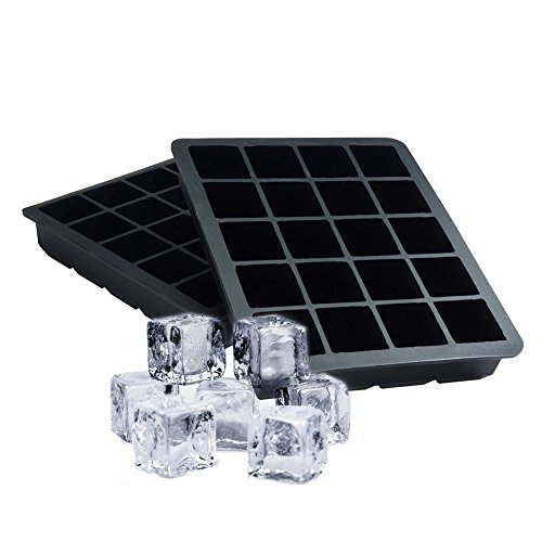 HoShip Silicone Ice Cube Tray Ice Cube Molds, 1 Inch, 20 Cubes, BPA Free and FDA Approved, Pack of 2 (Black)