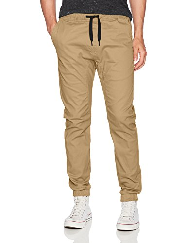 WT02 Men's Jogger Pants in Basic Solid Colors and Stretch Twill Fabric, Light Khaki(NEW), Medium