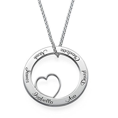 MyNameNecklace Personalized Engraved Sterling Silver Circle of Love Family Pendant with Heart Inside- Gift for Mom