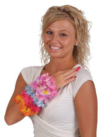 happy deals 24 Pc Hawaiian Flower Lei Bracelets -Wholesale Luau Party Supplies (Tone Flower Two Lei)