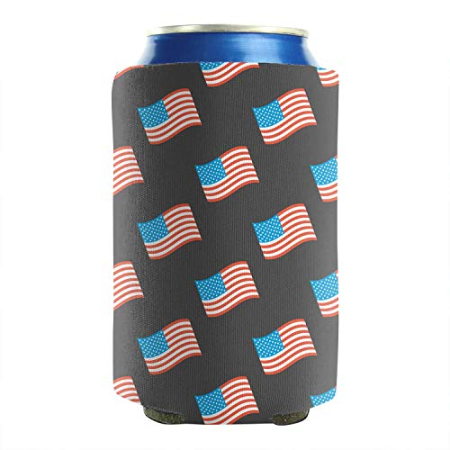 Set of 2 Durable Collapsible Fully Stitched Insulated Bottles Holder Neoprene Beverage Coolers Fit 12 oz American flag seamless pattern Cold Drink Soda Water Beer Cans Cooler Sleeve