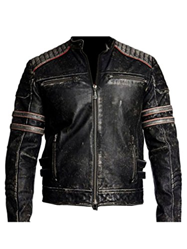 Biker Vintage Motorcycle Distressed Black Retro Mens Leather Jacket by ABz Leathers (M, Black) - Mens Motorcycle Leather Biker Racer