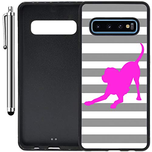 Custom Case Compatible with Galaxy S10 Plus (6.4 inch) (Striped Lab Gray White Pink) Edge-to-Edge Rubber Black Cover Ultra Slim | Lightweight | Includes Stylus Pen by Innosub ()