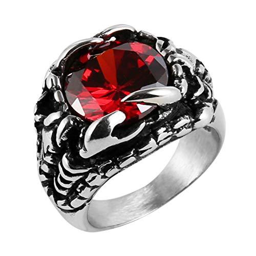 HZMAN Vintage Gothic Biker Scorpion Red CZ Skull Stainless Steel Ring ()