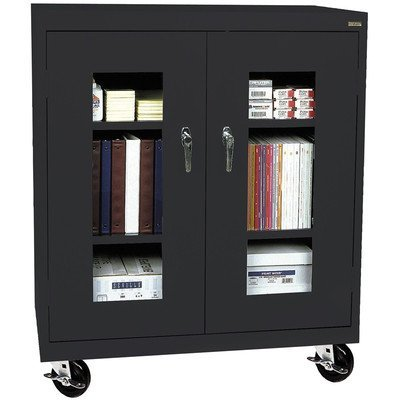 Sandusky Lee TA2V462442-08 Elite Series Transport Mobile Clear View Counter Height Storage Cabinet, Forest - Height Cabinet Mobile