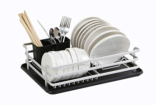 Dish Drying Rack, Drying Drainer Rust Proof Top aluminum, with a drip tray. (Rust Aluminum And)