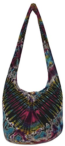 TIE DYE Bohemian Hipster Hobo Boho Hippie Crossbody Bag Purse Black Tone 39'' (9728) by All Best Thing
