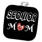 3dRose RinaPiro Graduation Sayings - Senior Mom. Heart. Black and white. - 8x8 Potholder (phl_282822_1)