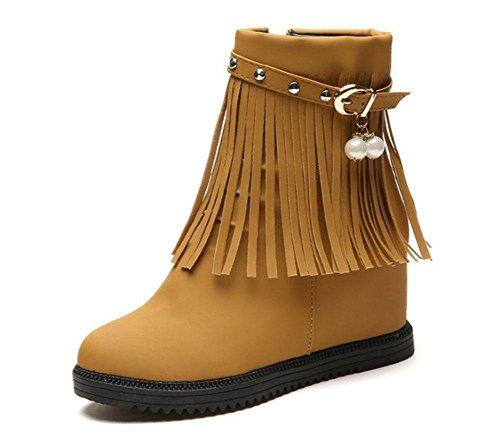 KUKI Damenstiefel, Stiefel, Damenschuhe, dicker Boden, innen erhöht, einfarbig, Quasten, Martin Stiefel, Stiefel, groß, Baumwollschuhe dark brown