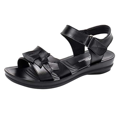 (Women's Ladies Mother Leather Flat Soft Beach Sandals Roman Shoes Footwear Casl Athletic Shoe with Extraordinary Comfort Technology Black)