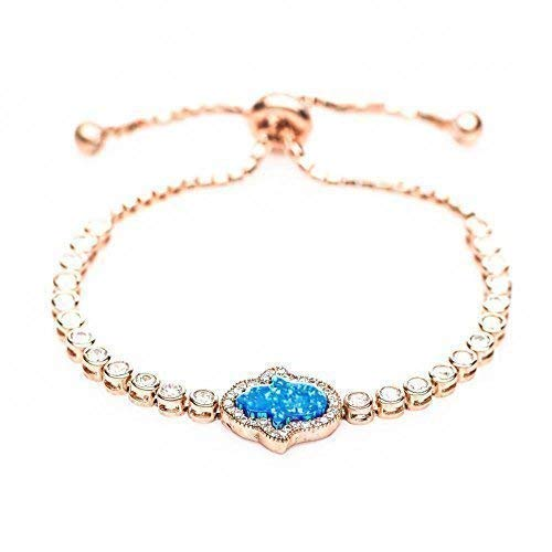Hamsa Charm Rose Gold Adjustable Bracelet For Women | Alef Bet by Paula