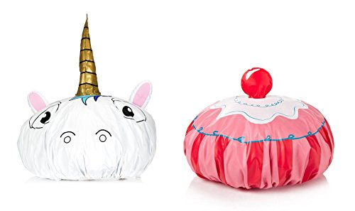 Price comparison product image Unicorn and Cupcake Funny Vinyl Shower Caps Gift Set Bundle of 2