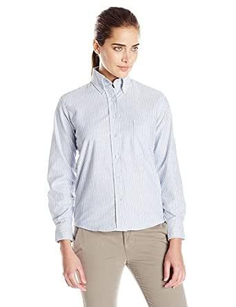 Red Kap Women's Executive Oxford Dress Shirt, Blue/White Stripe, 2