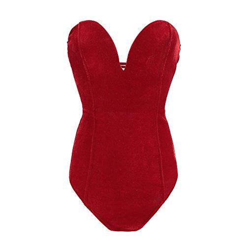 Plunge Bodysuit Shapewear Clubwear Sexy Red XL ()