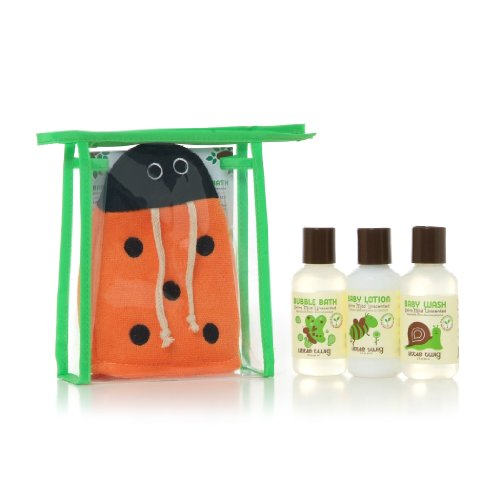Little Twig All Natural, Hypoallergenic, Extra Mild Baby Travel Basics 4 Piece Gift Set with Ladybug Bath Mitt for Sensitive Skin, Unscented, 2 Ounce ()