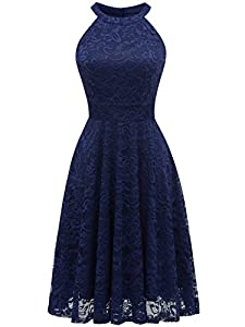IVNIS Women's Halter Neck Floral Lace Bridesmaid Dress Sleeveless Swing Cocktail Dress