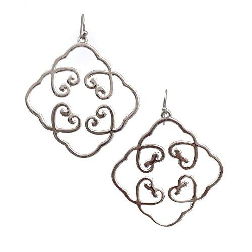 Flat Open Heart Earring (4 Hearts Cluster Clover Simple Open Silver Tone Dangle)